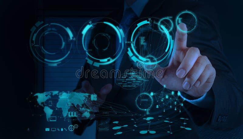 Affärsmanhand som arbetar med ett beräknande diagram för moln på net royaltyfri bild