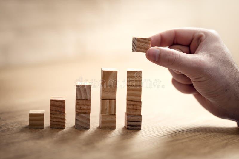 Affärsmanhand som ordnar träkuben som staplar som momenttrappan Process f?r aff?rsid?tillv?xtframg?ng royaltyfria bilder