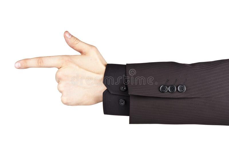 Affärsmanhand som pekar med ett finger royaltyfria bilder