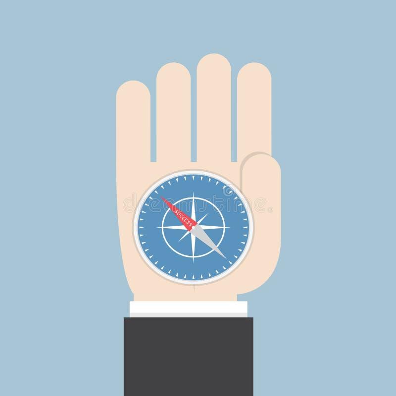Affärsmanhand som rymmer en kompass som pekar till framgång stock illustrationer