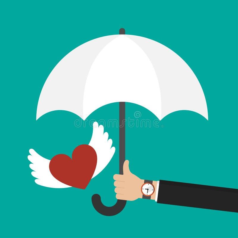 Affärsmanhand som rymmer ett paraply för skyddande valentinhjärtasymbol Hjärta med vingsymbolen royaltyfri illustrationer