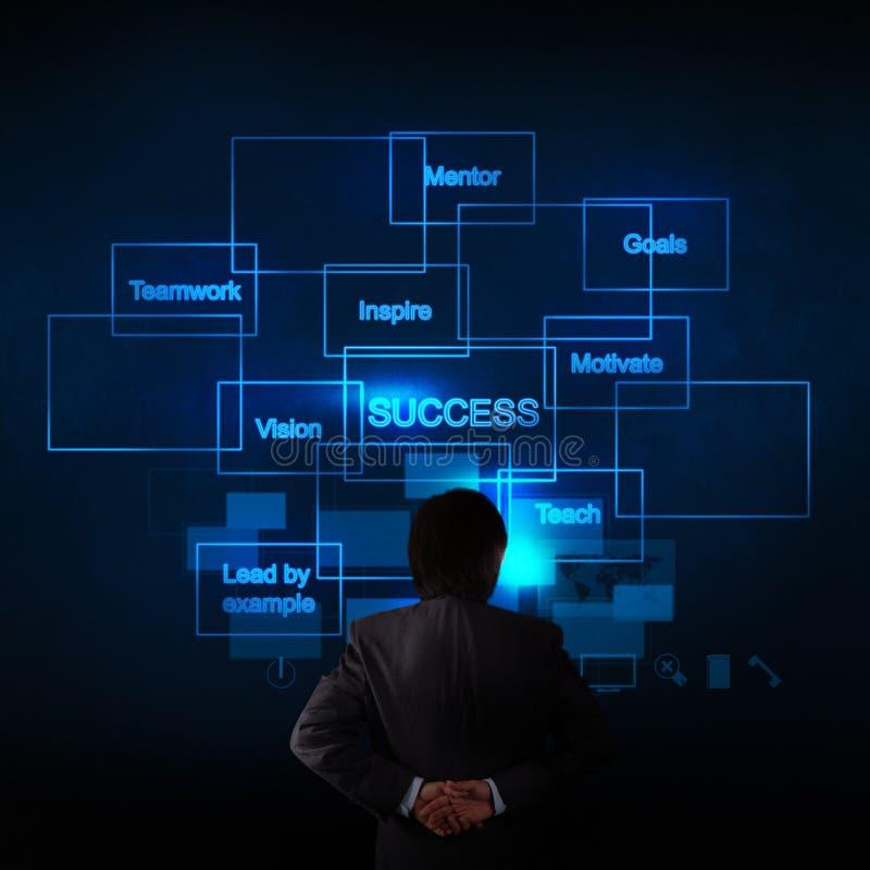 Affärsmanhand som tänker om diagrammet för affärsframgång royaltyfria bilder
