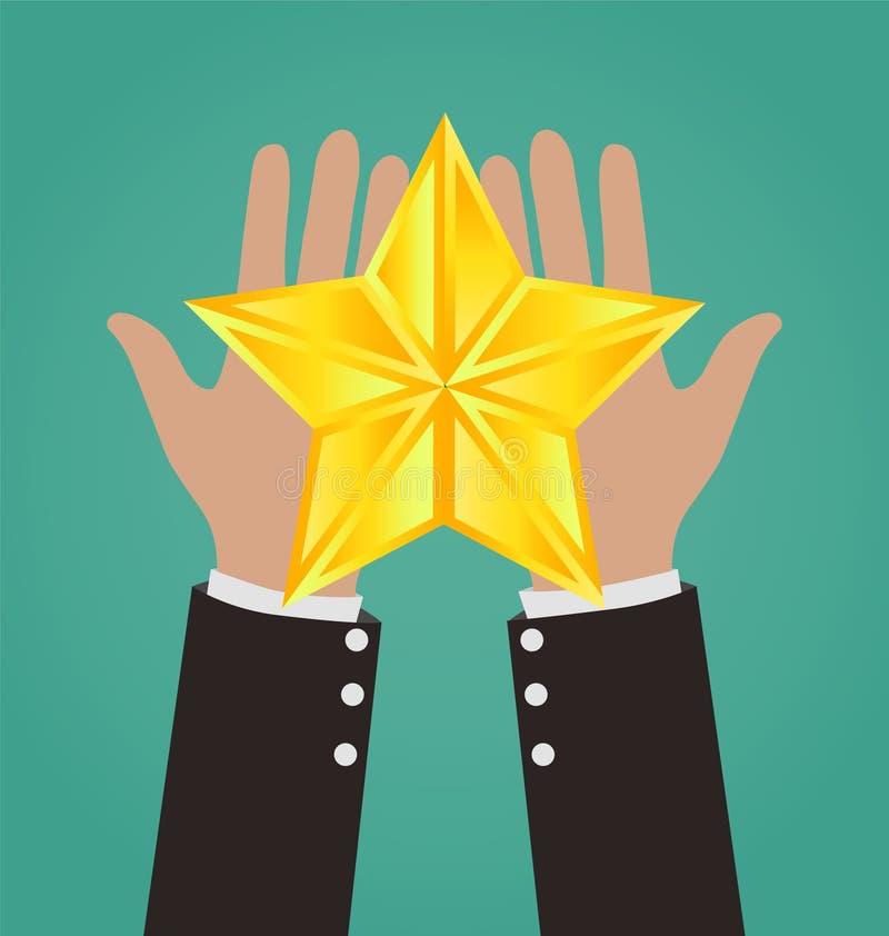 AffärsmanHands Giving Gold stjärna stock illustrationer