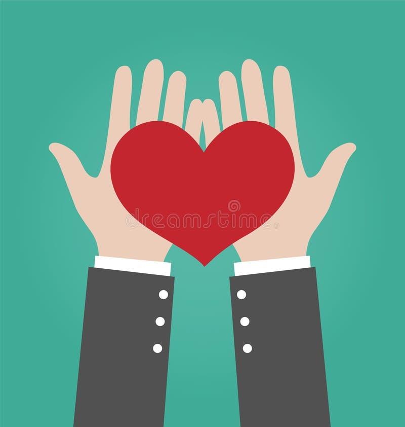 AffärsmanHands Giving Red hjärta vektor illustrationer