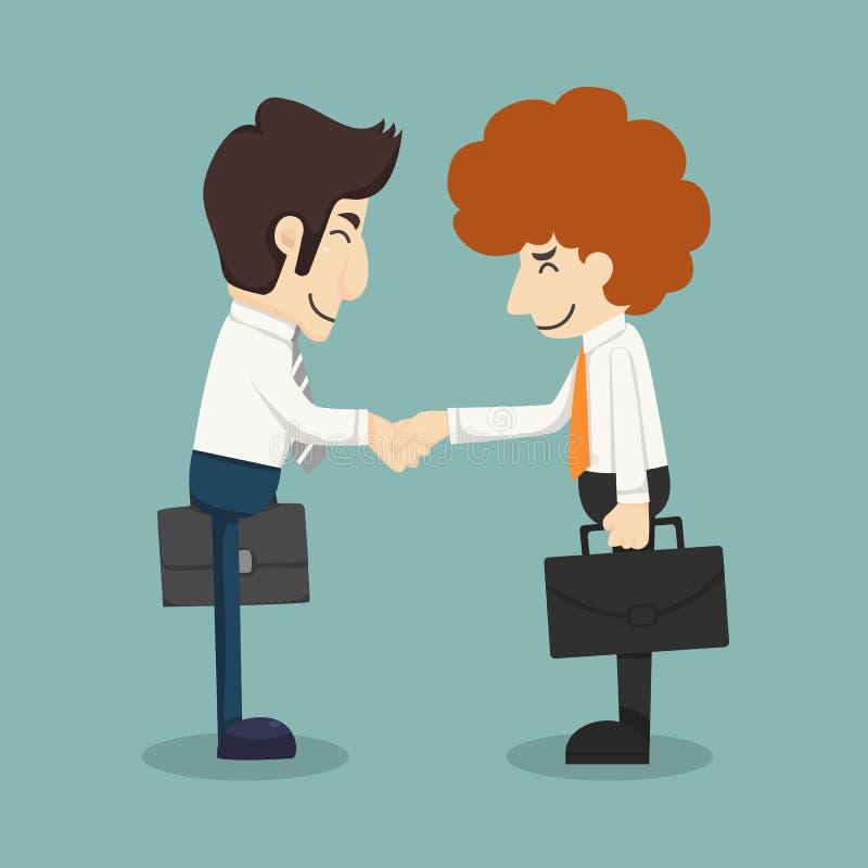 Affärsmanhandskakning, affärsmän som gör ett avtal stock illustrationer