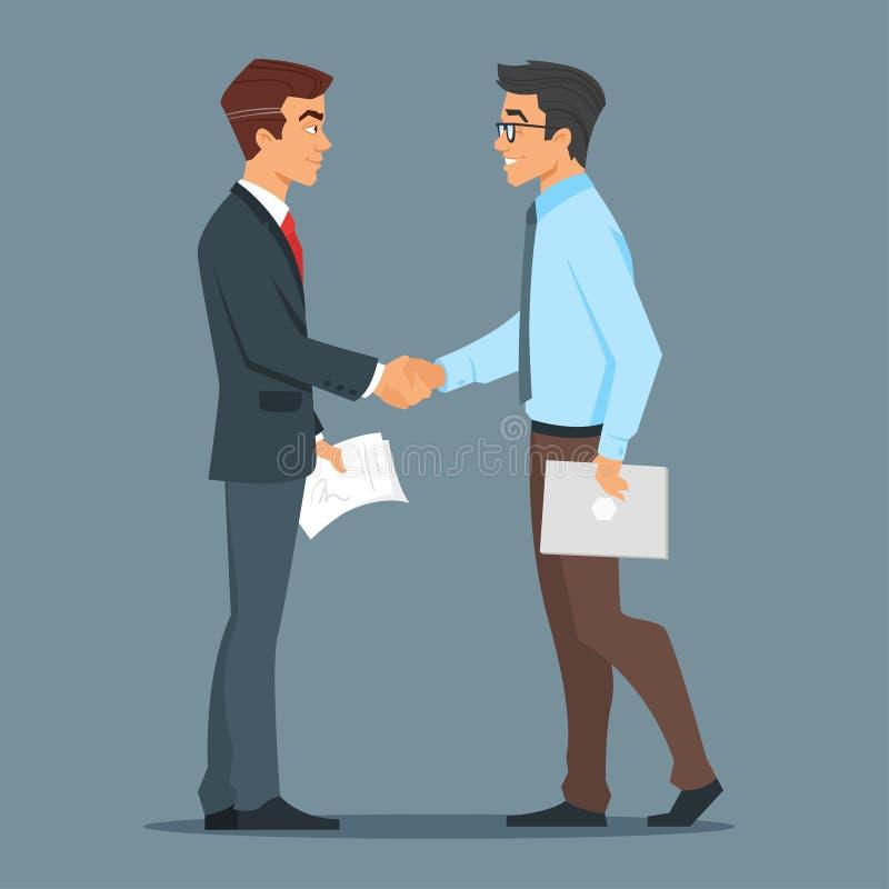 affärsmanhandskakning två gott avtal royaltyfri illustrationer