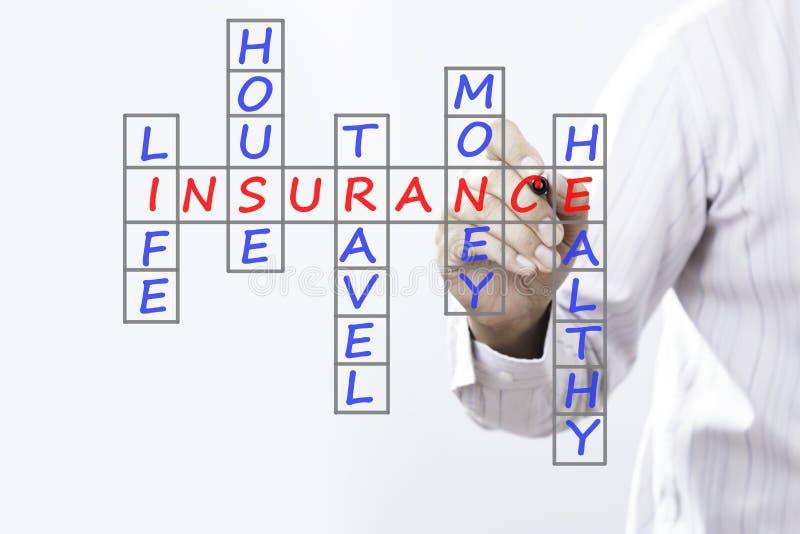 Affärsmanhandstillivförsäkring, husförsäkring, hem- insur fotografering för bildbyråer