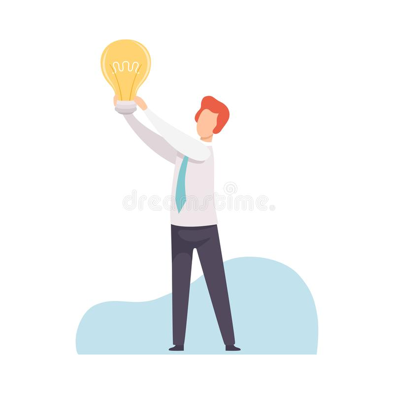 AffärsmanHolding Bright Glowing ljus kula i hans händer, man som har den bra idén, idékläckning, innovation, kreativitet stock illustrationer