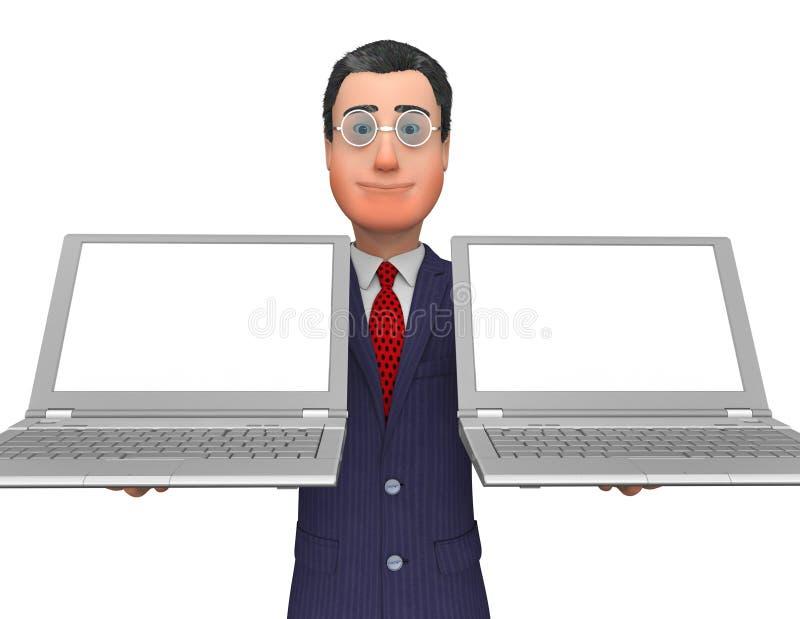 AffärsmanHolding Laptops Means tomt utrymme och mellanrum stock illustrationer