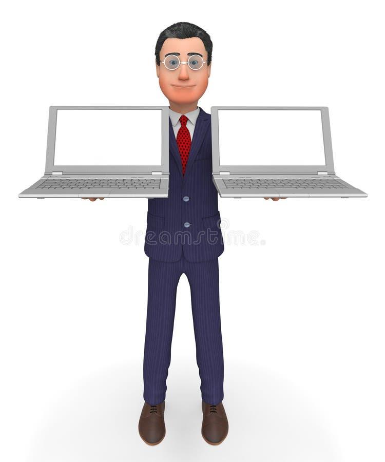 AffärsmanHolding Laptops Shows tom utrymme och dator royaltyfri illustrationer