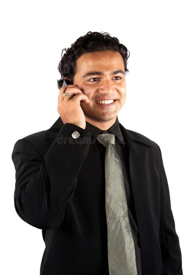 affärsmanindiertelefon royaltyfri fotografi