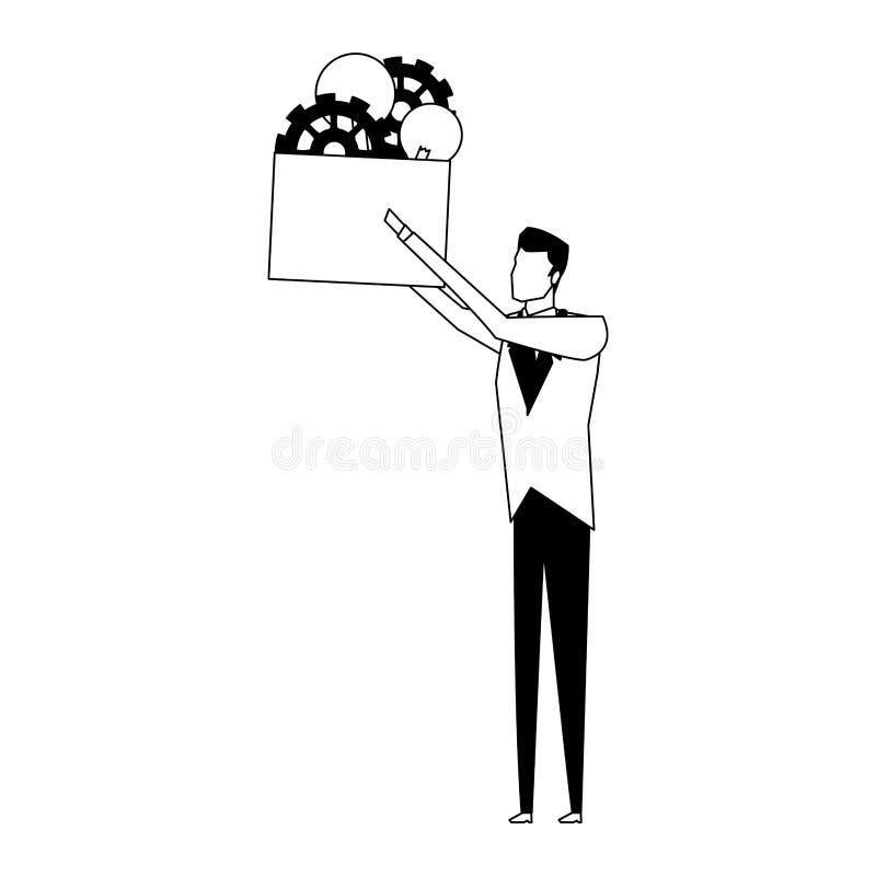 Affärsmaninnehavask med kulaljus och kugghjul i svartvitt vektor illustrationer
