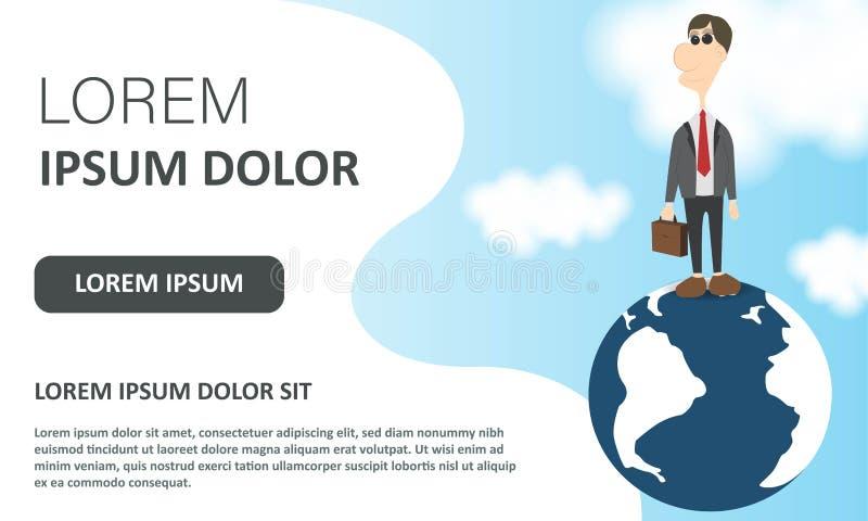 Affärsmaninnehavportfölj på globalt Landa sidan Design för vektorillustrationlägenhet Manligt tecknad filmtecken Kontorschef in vektor illustrationer