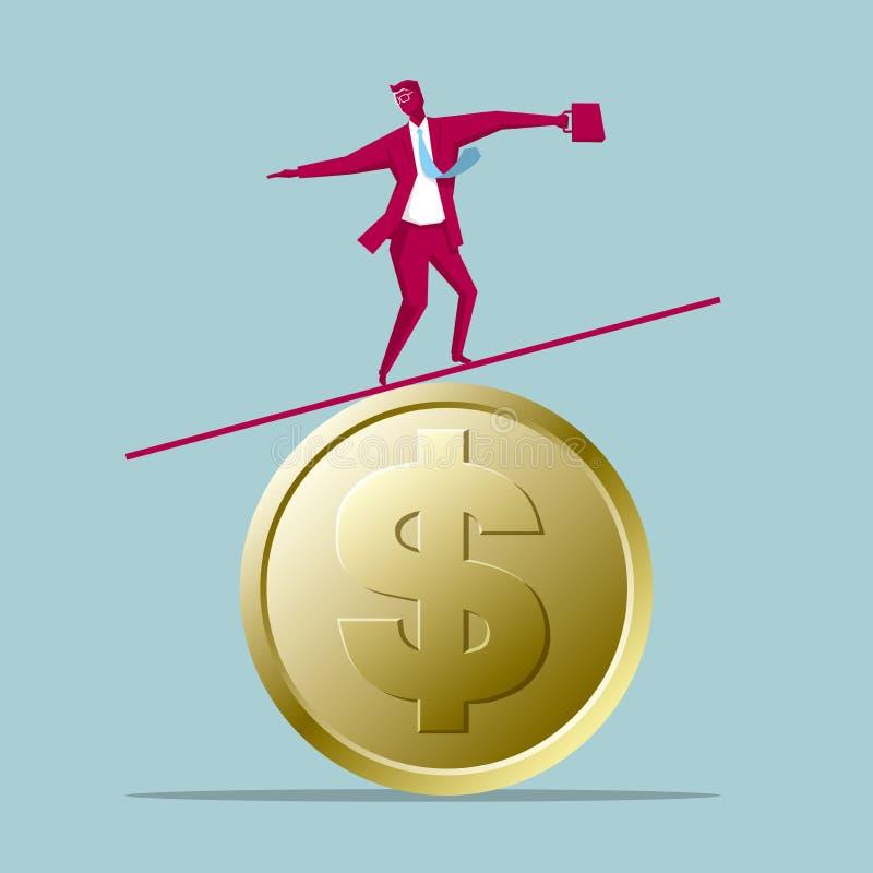 Affärsmanjämvikt på dollarmynt royaltyfri illustrationer