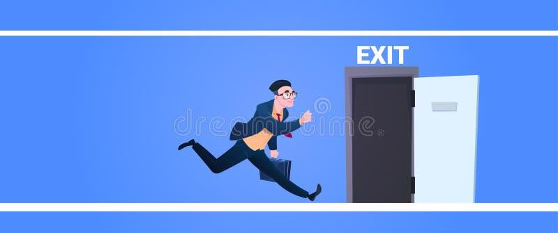 Affärsmankörning som öppnar spring för man för utgångsdörr från nödläge för arbetsevakueringsallsång på blått bakgrundslägenhetba stock illustrationer