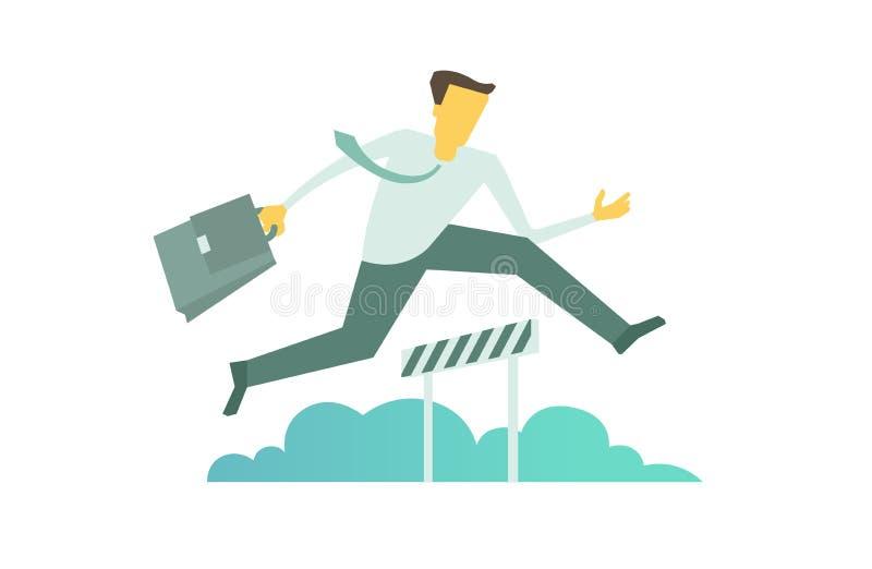 Affärsmankörningen hoppar övervinna begreppet för barriäraffärshinder stock illustrationer