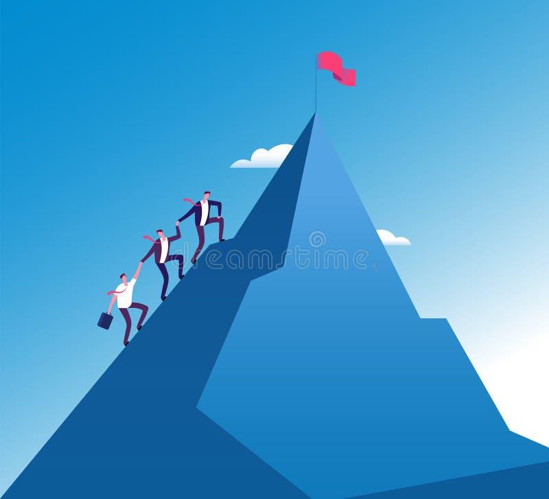 Affärsmanklättringberg Företags tillväxt för framgångteamwork, begrepp för beskickningprestationvektor royaltyfri illustrationer