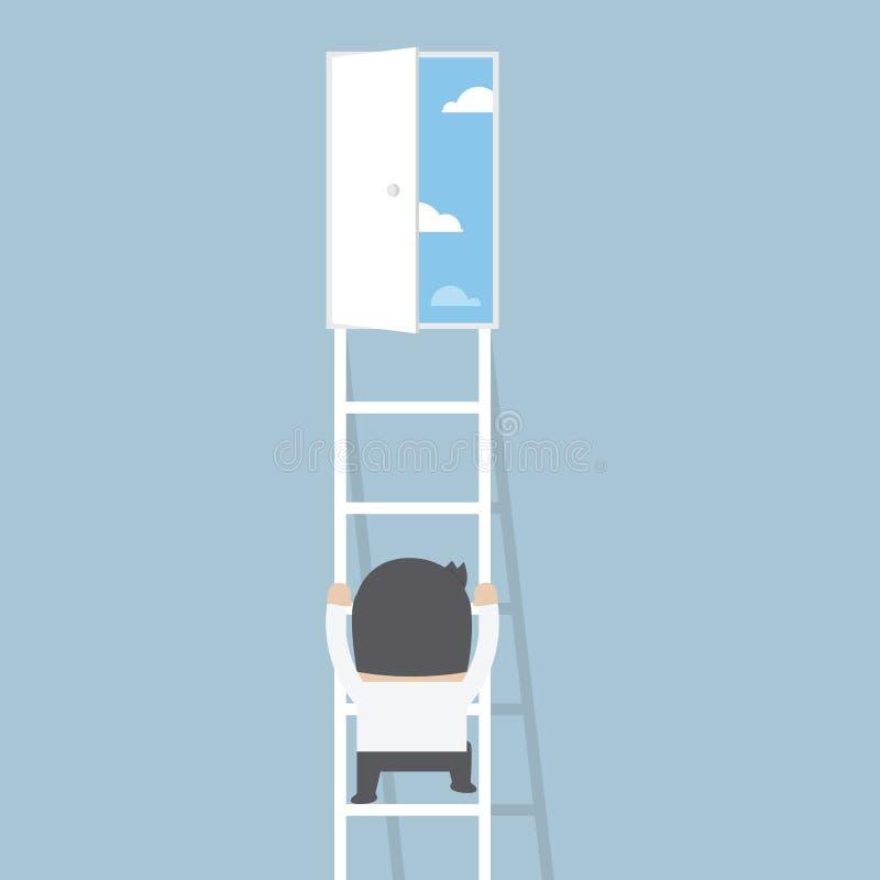 Affärsmanklättringstege till dörren av frihet vektor illustrationer