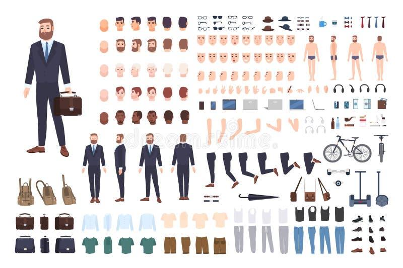 Affärsmankonstruktör eller DIY-sats Uppsättning av manliga kroppsdelar för kontorsarbetare eller kontorist, ställingar, bekläda s royaltyfri illustrationer