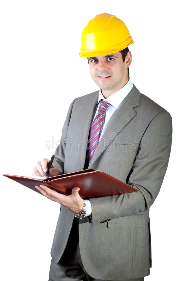 affärsmankonstruktionsleverantör royaltyfri bild