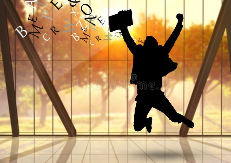 affärsmankontur med text som kommer upp från huvudet Hoppa i kontoret framme av vinden royaltyfri illustrationer