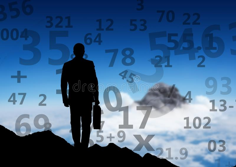 affärsmankontur på överkanten av berget som ser till annat berg Nummer runt om honom stock illustrationer
