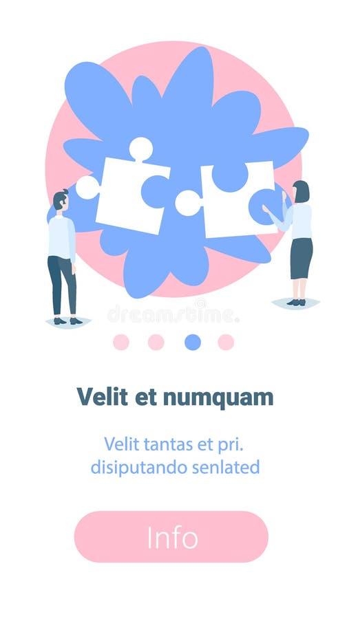 Affärsmankvinnapar som sätter utrymme för kopia för figursåg för teamwork för begrepp för lösning för pusselstyckproblem vertikal stock illustrationer