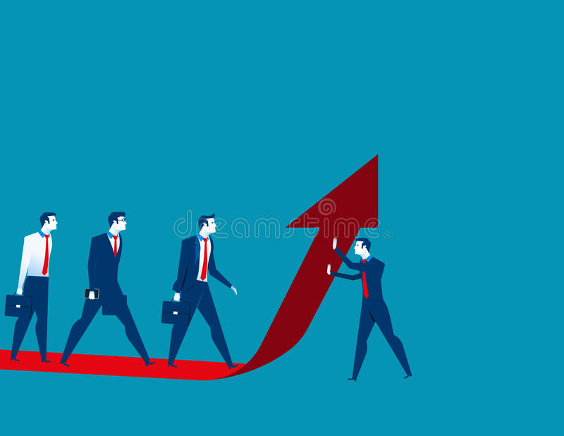 Affärsmanlaget flyttar sig upp på den röda pilen vektor illustrationer