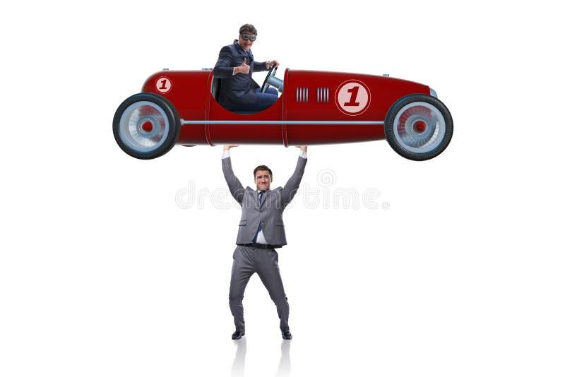 Affärsmanlyftande sportbilen i maktbegrepp royaltyfri bild