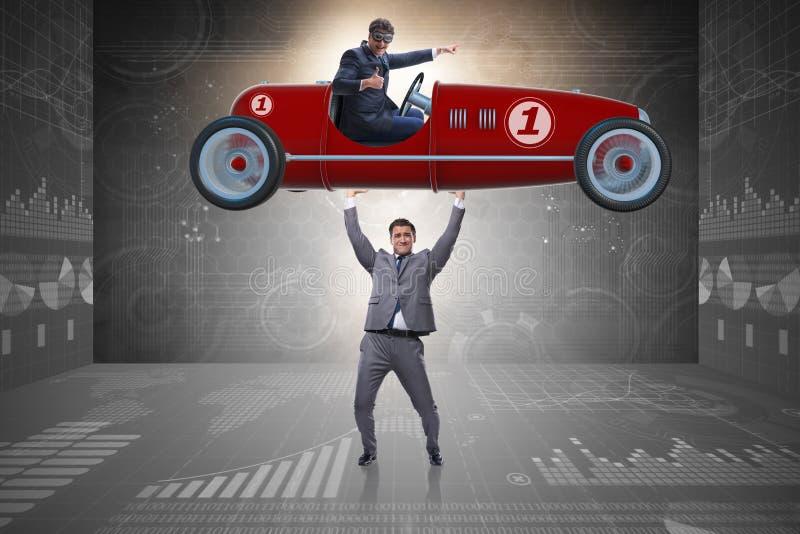 Affärsmanlyftande sportbilen i maktbegrepp arkivbild