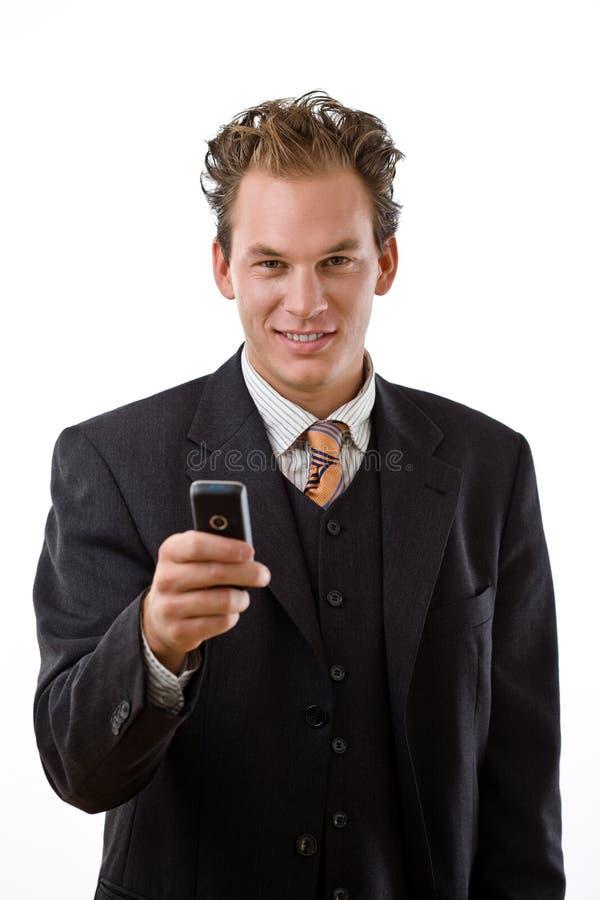affärsmanmobiltelefon arkivfoton