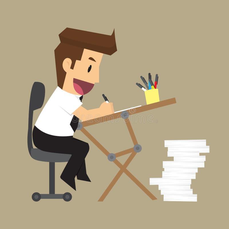 Affärsmannen är lycklig med arbetsskrivbordet royaltyfri illustrationer