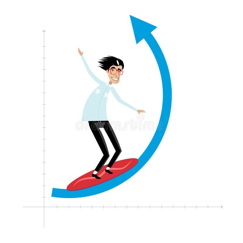Affärsmannen övervinner vågen vektor illustrationer