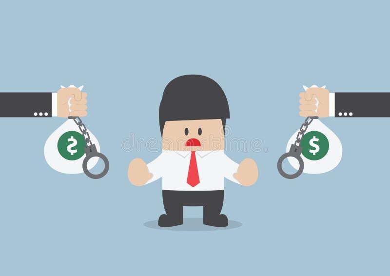 Affärsmannen accepterar inte lånerbjudandet, finansiellt begrepp vektor illustrationer