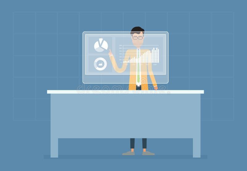 Affärsmannen analyserar och planläggningen på finansiell rapport stock illustrationer