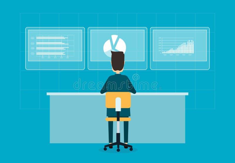 Affärsmannen analyserar och planläggningen på finansiell rapport royaltyfri illustrationer