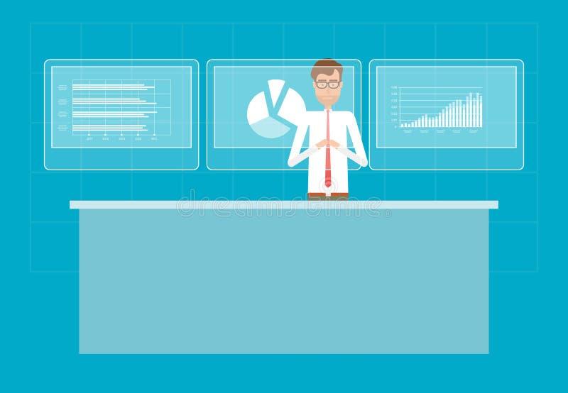 Affärsmannen analyserar tillväxt för rapportgrafvinst stock illustrationer