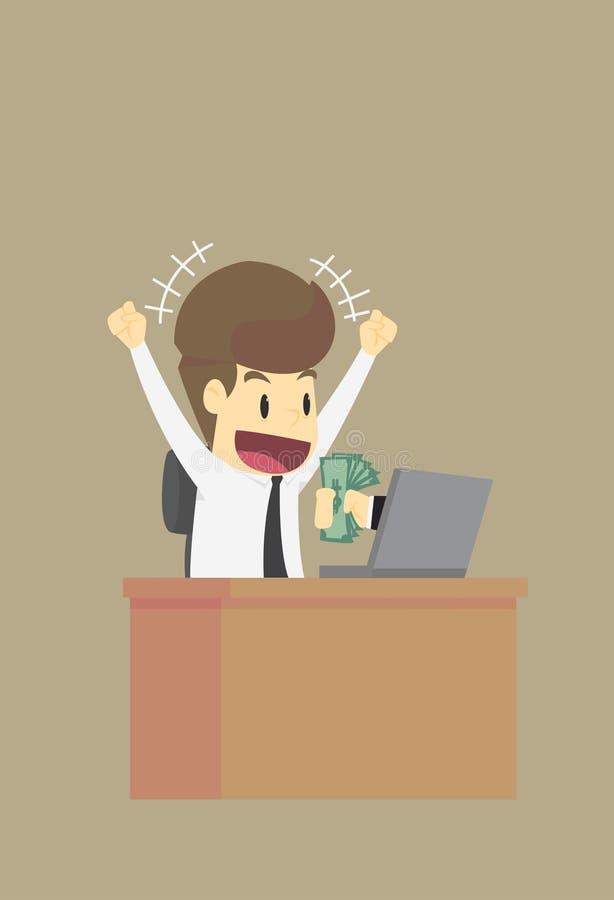 Affärsmannen av hållande pengar för handen kommer ut från datorstenras royaltyfri illustrationer