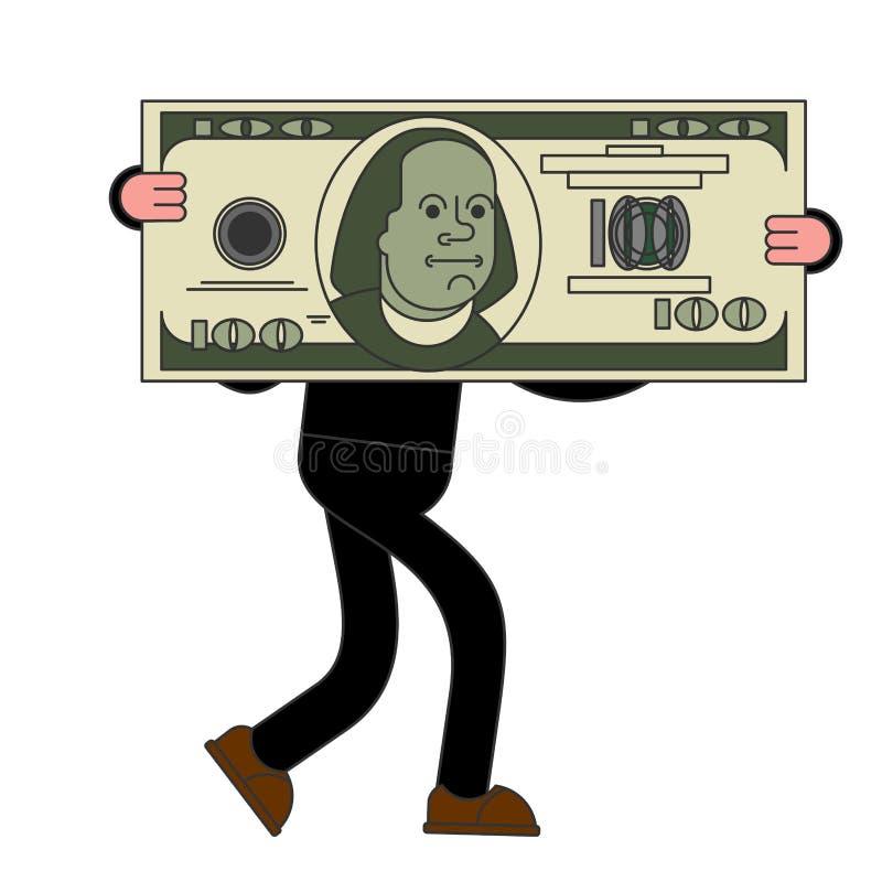 Affärsmannen bär den stora dollaren Enorma vinster stora pengar vektor illustrationer