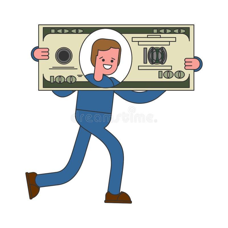 Affärsmannen bär den stora dollaren Enorma vinster stora pengar stock illustrationer