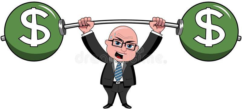 Affärsmannen Bald Cartoon Lifting väger dollaren stock illustrationer