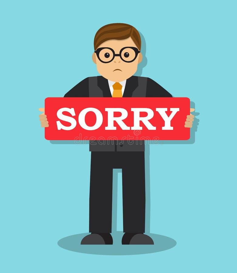 Affärsmannen beklagar och önskar att korrigera felet royaltyfri illustrationer