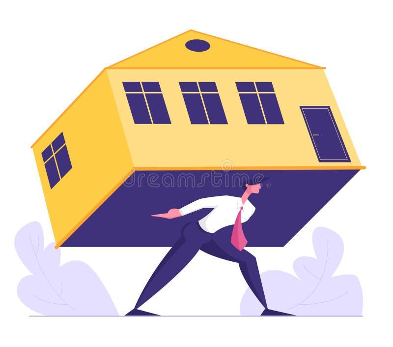 Affärsmannen Carry Heavy Home som förkrossar intecknar Hus, fastighetsinvestering, hyra eller lån för man bärande stock illustrationer