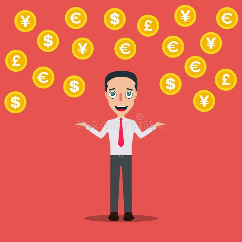 Affärsmannen Cartoon Character Icon isolerade illustrationen för designmallvektorn som regnar pengar royaltyfri illustrationer