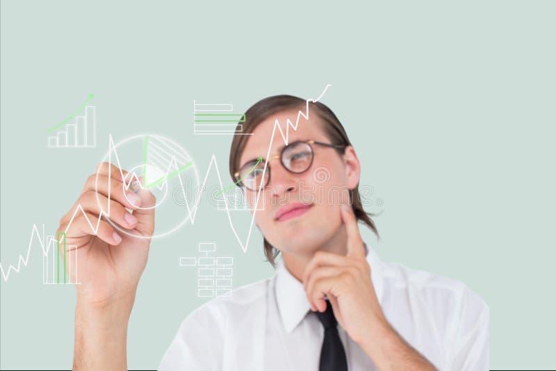 Affärsmannen drar diagram på skärmen mot grå bakgrund stock illustrationer