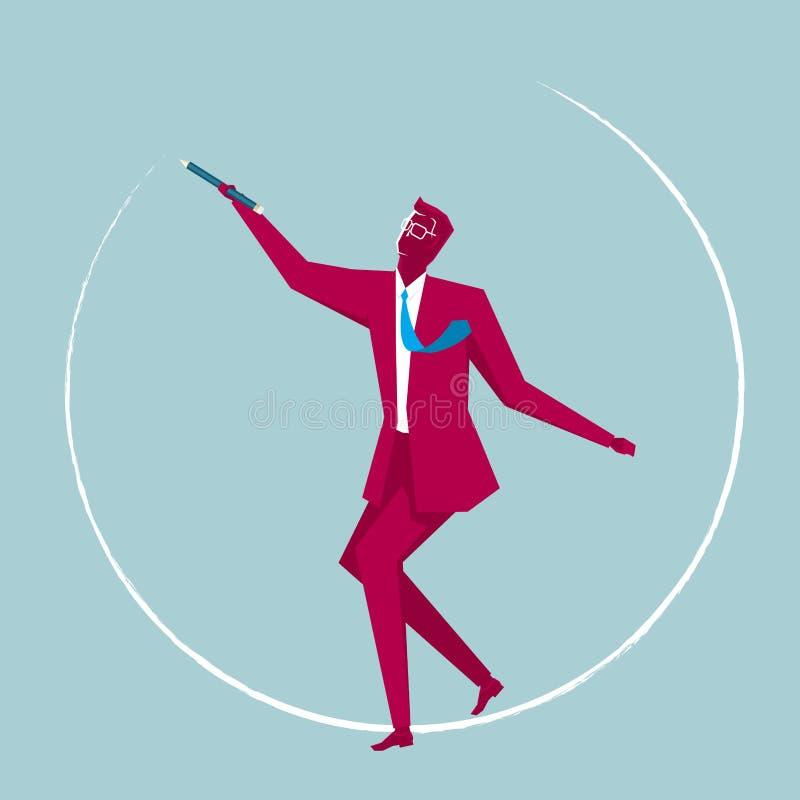 Affärsmannen drar en cirkel genom att använda en blyertspenna vektor illustrationer