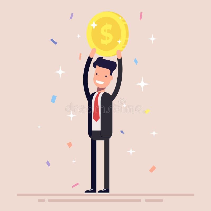 Affärsmannen eller chefen rymmer ett guld- mynt över hans huvud Mannen i affärsdräkten segrade priset Konfettier och glitter royaltyfri illustrationer