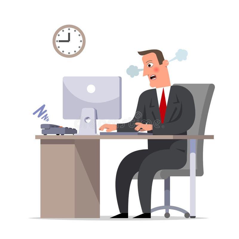 Affärsmannen eller kontoristen gör akut arbete, stopptiden är a vektor illustrationer