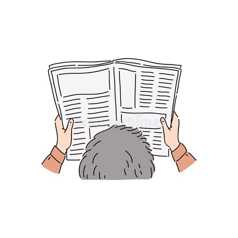 Affärsmannen eller kontorsarbetaren med händer för en tidning och huvudhandteckningen skissar stock illustrationer