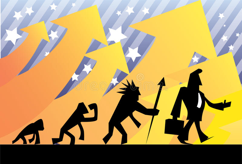 affärsmannen evolve lyckat stock illustrationer